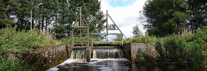 Spærring i vandløb ved dambrug. Foto: Kim Birnie-Gauvin.