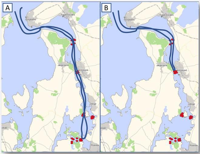 To havørreders vandring i Roskilde Fjord.
