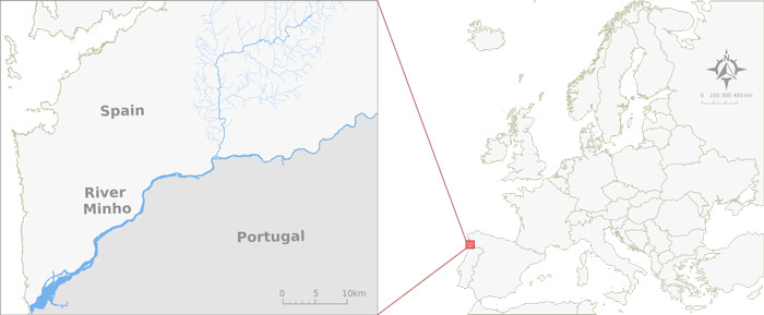Map - The River Minho is located in the Iberian Peninsula and represents a natural border between Portugal and Spain