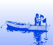 Køb fritidsfisketegn på fisketegn.dk - illustration: stiliseret fritidsfisker i båd