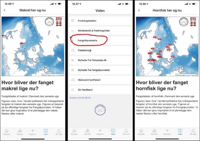 Hornfisk - Fangstjournalens app finde et kort over, hvor i Danmark der er indrapporteret fangster af hornfisk den seneste uge, samt et barometer der tager temperaturen på dagens fangstchancer.